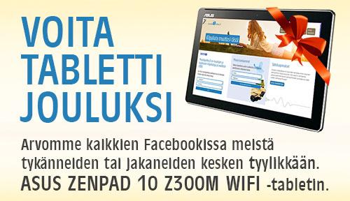 Arvomme Facebookissa meistä tykänneiden ja jakaneiden kesken  ASUS ZENPAD 10 Z300M WIFI -tabletin.